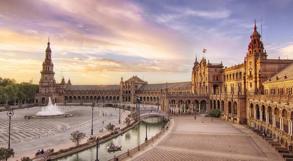 Plaza de España at sunset. Seville