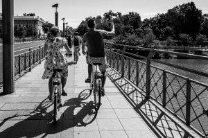Crossing the river. Seebybike